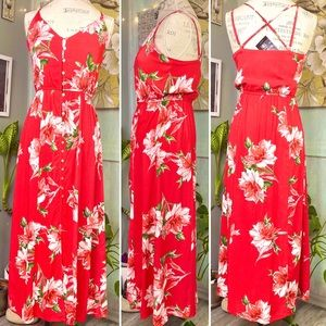 Red floral maxi light dress size S NWT
